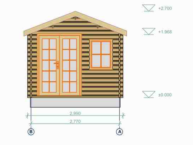 34mm Rio Log Cabin 3 X 4m Technical Drawings